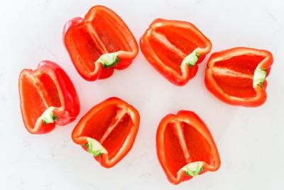 cut peppers into halves