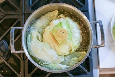 Cabbage boiling at a pot