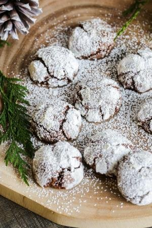 Chocolate Crinkle Cookies on a tray