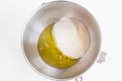 egg whites with sugar in a mixing bowl