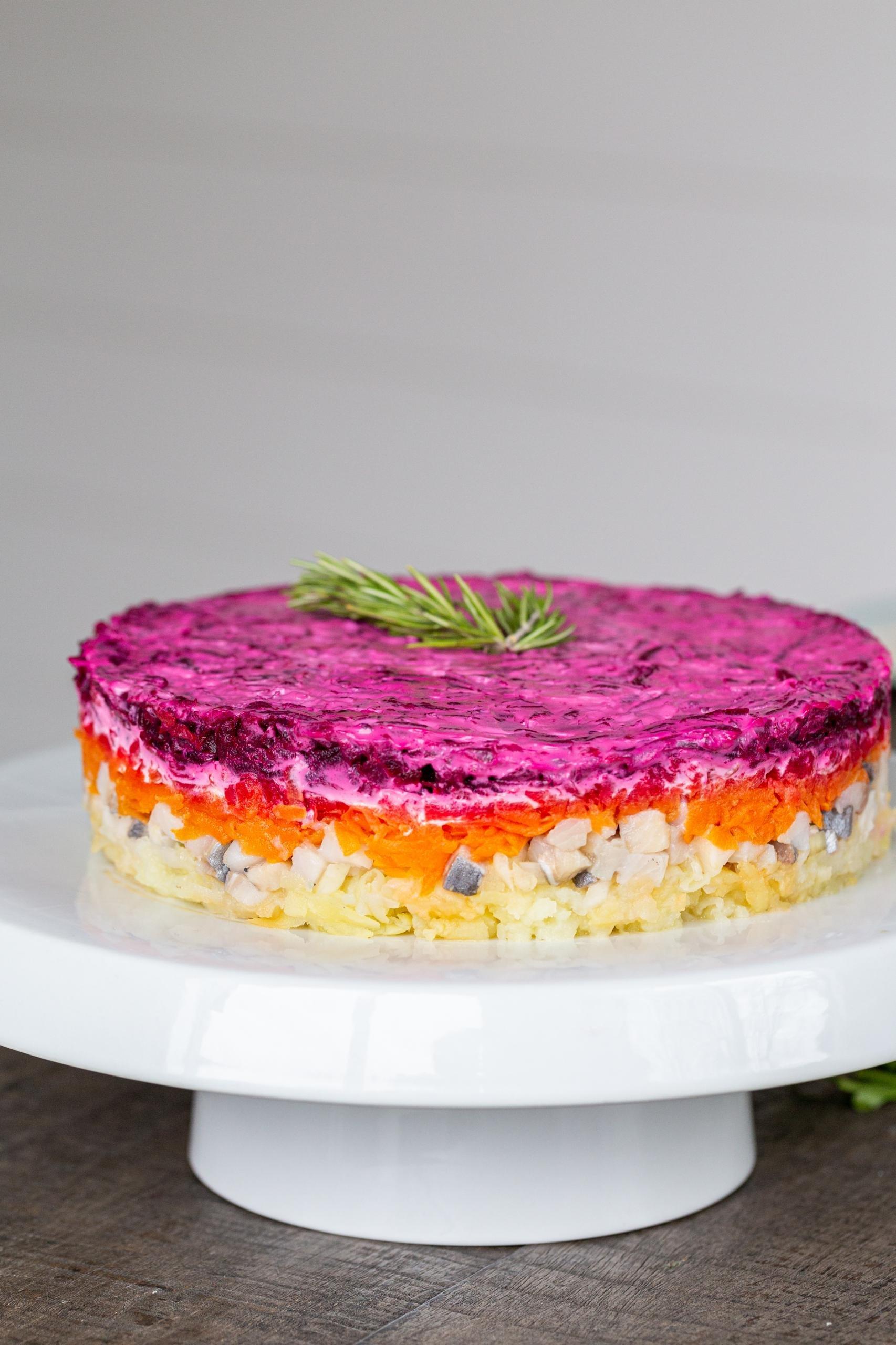 Shuba salad on the plate
