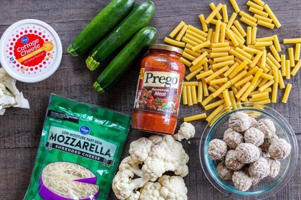 Ingredients to make Ziti pasta