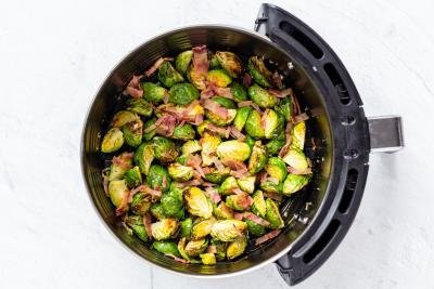 Air Fryer Basket with Brussels Sprouts