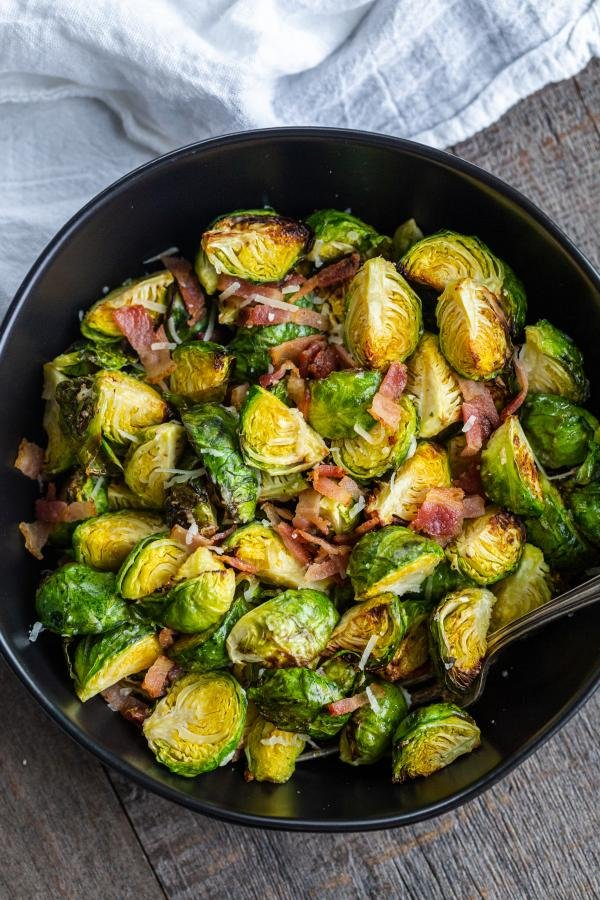 Plate with Brussels Sprouts and bacon