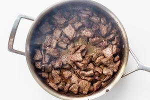 Browned beef in a pan