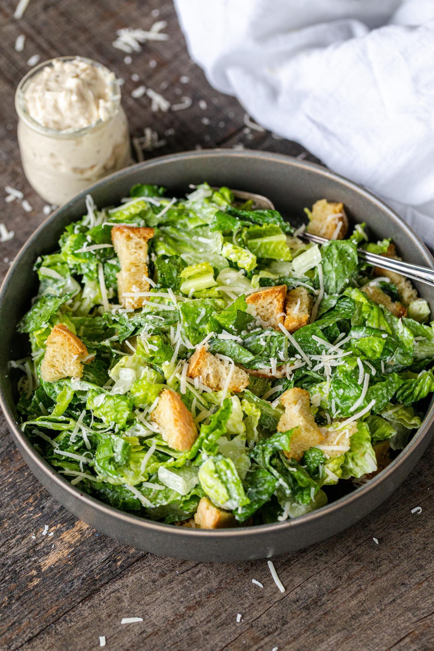 caesar salad in a plate