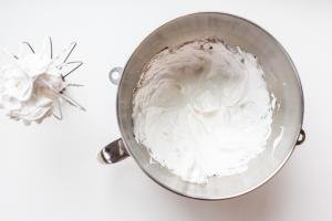 whipped egg whites in a bowl