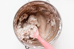 cacao with egg whites in a mixing bowl