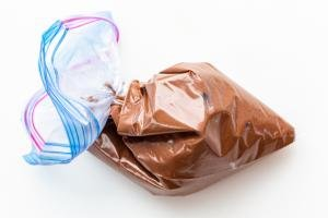 macarons batter in a ziplock bag