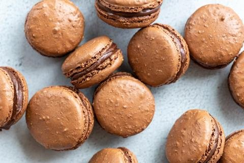 Finished macarons with chocolate filling