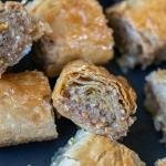 Baklava rolls on a plate