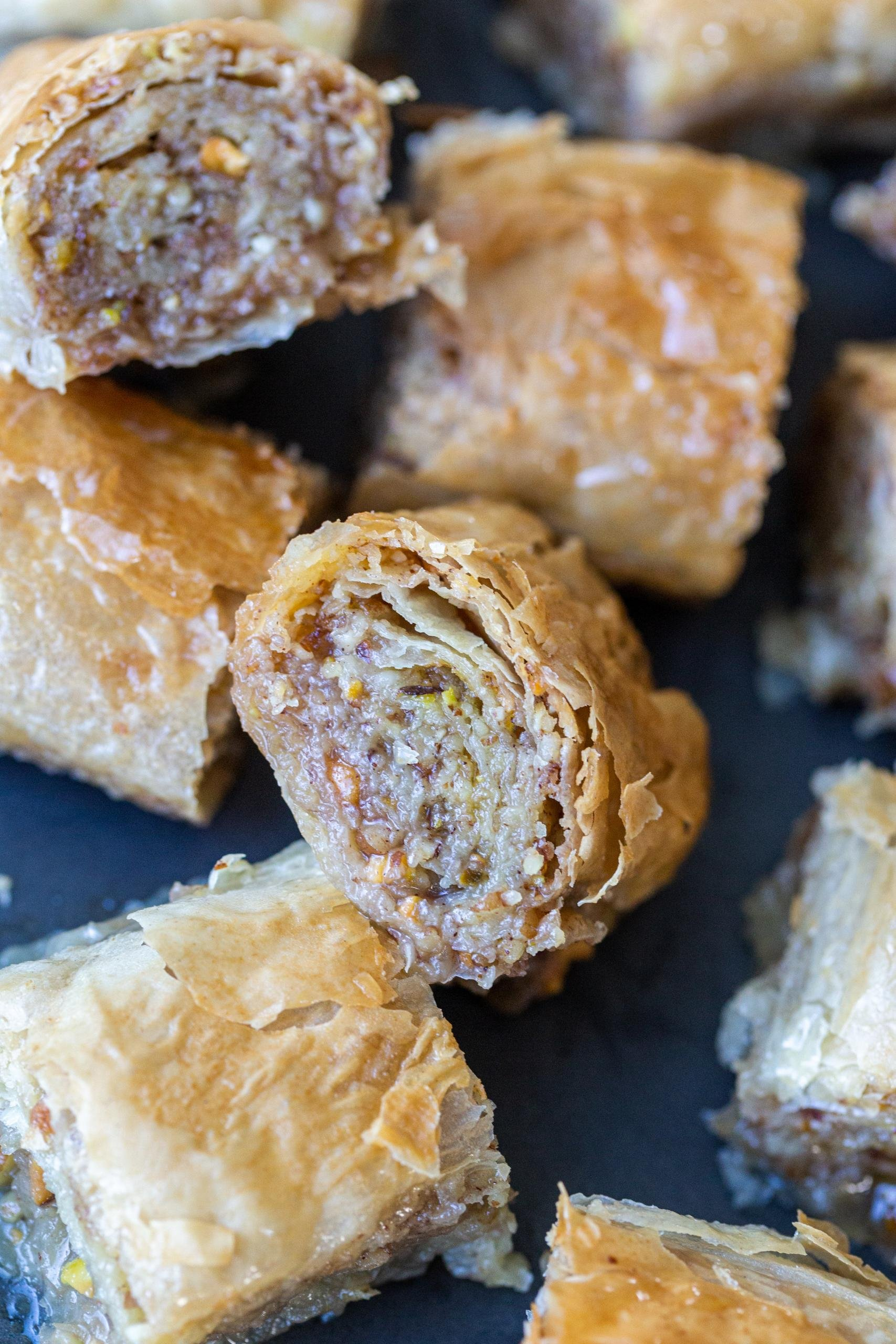 Baklava rolls on a plate