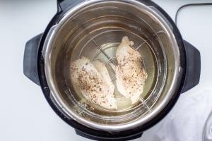 Cooked chicken breast in an instant pot
