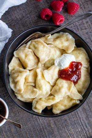 Bowl with cooked pierogi