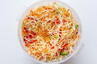 shredded vegetables in a pot