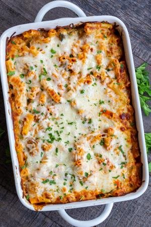 Baked Ziti pasta in a dish