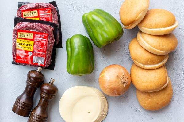 ingredients for the philly cheese steak