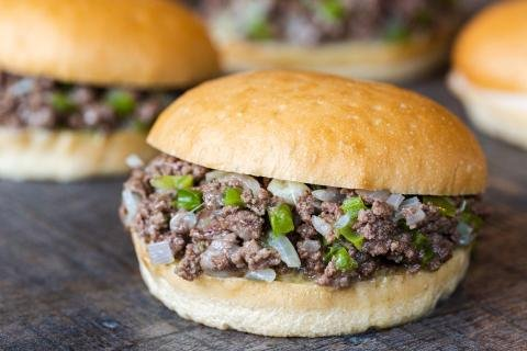 Philly Cheese Steak Sloppy Joes on the tray