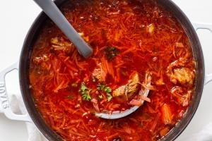 Classic Borscht Recipe in a pot
