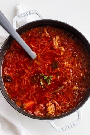 Classic Borscht Recipe in a pot