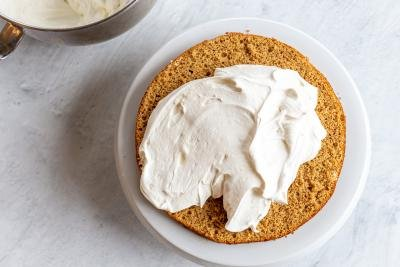 cream over a sponge cake