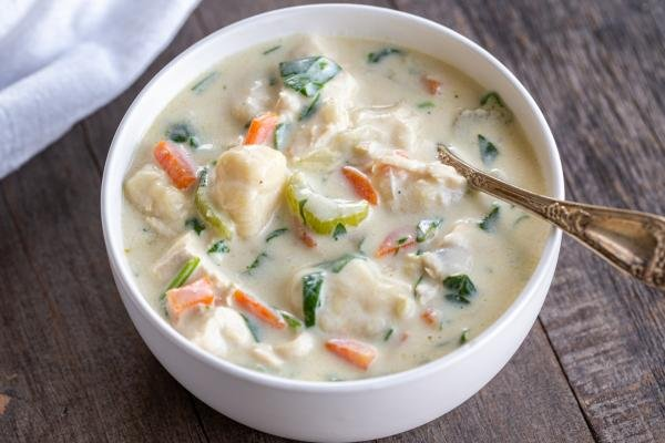 A bowl of chicken gnocchi soup in a bowl