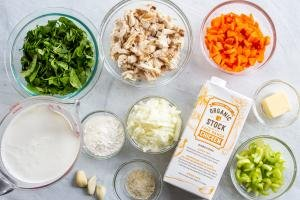 Ingredients for the chicken gnocchi soup