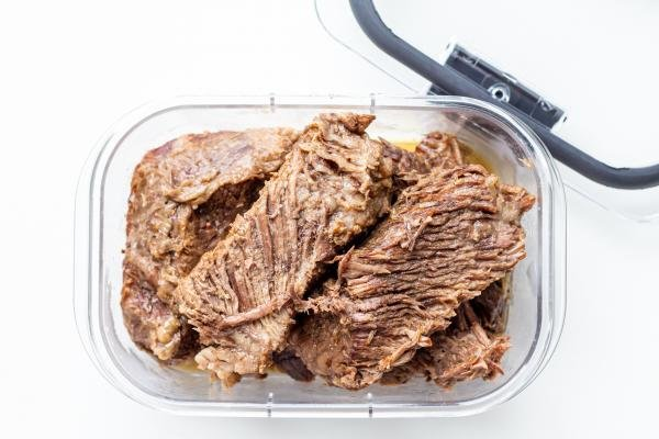 stored beef in a container