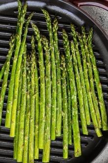 Roasted asparagus on a baking pan
