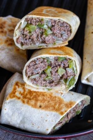 Philly cheesesteak Wrap cut open