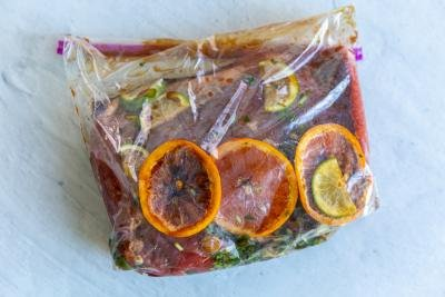 marinating carne asada in a bag