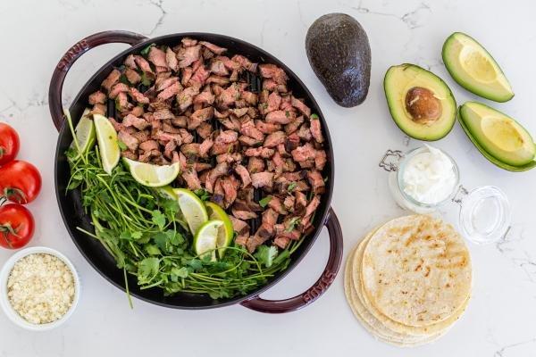 ingredients for carne asada street tacos