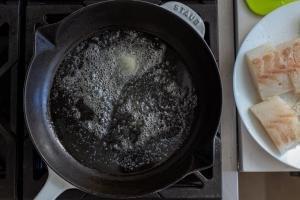 pan with butter melted