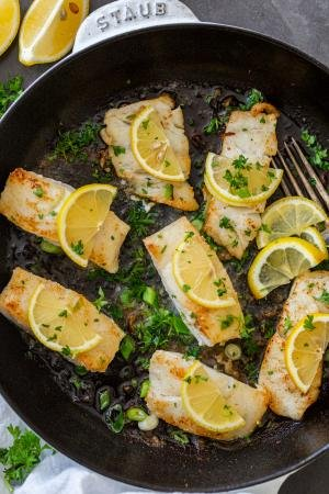 pan fried cod with lemon and herbs