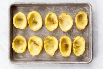 Potato skins on a baking sheet