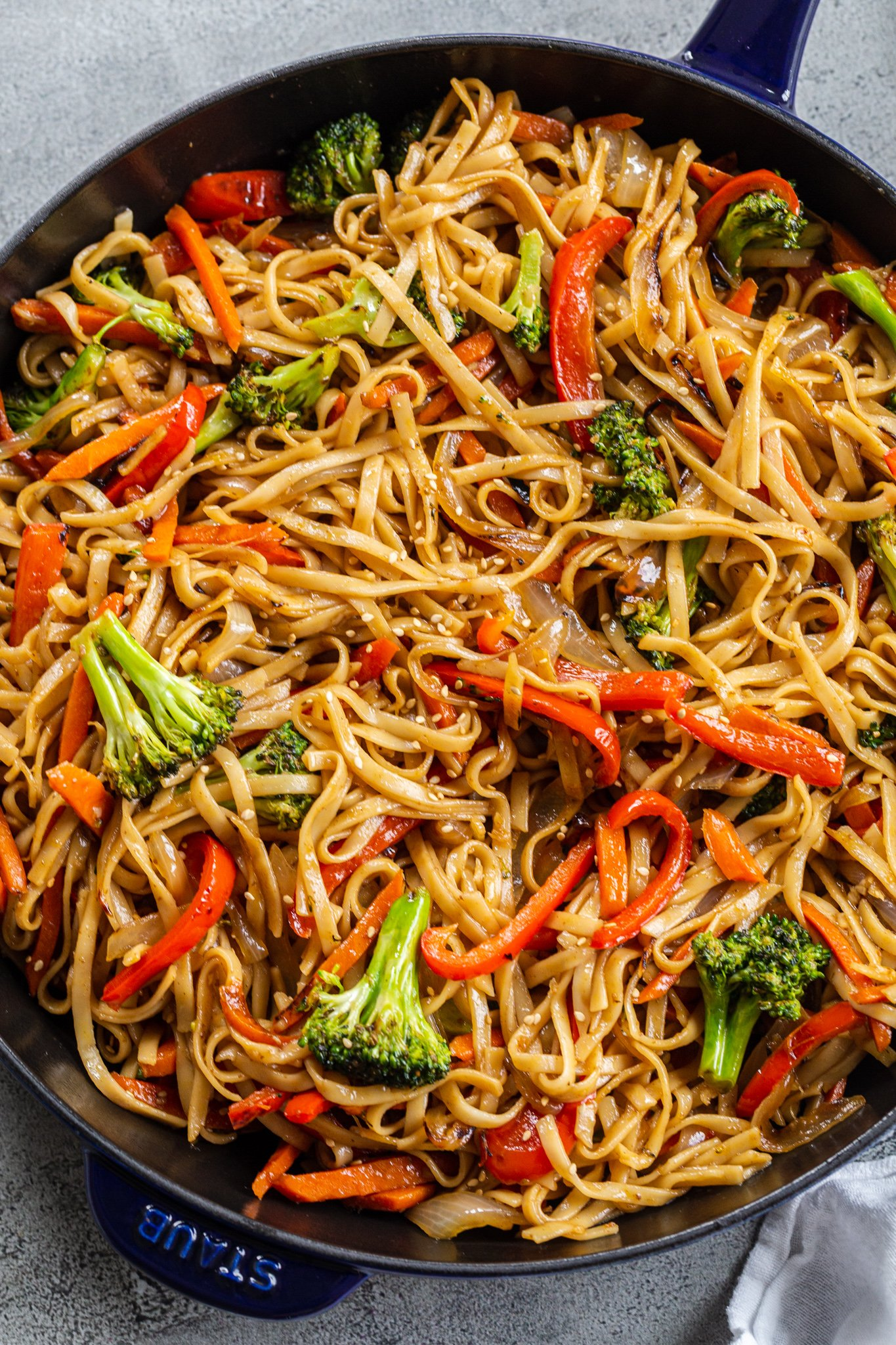skillet with veggie lo mein