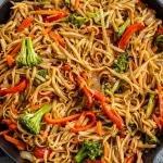 skillet with veggie lo mein