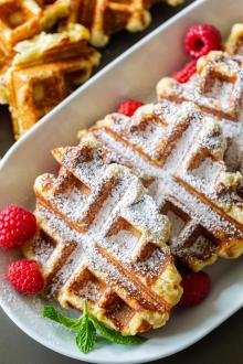 Belgian Liege Waffles on a plate with berries