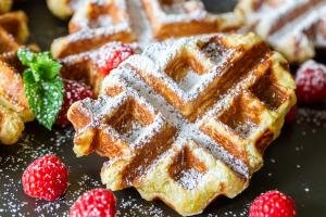 Belgian Liege Waffles with berries