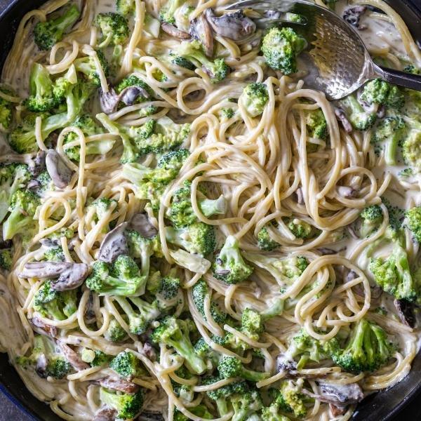 Broccoli Mushroom Alfredo in a pan