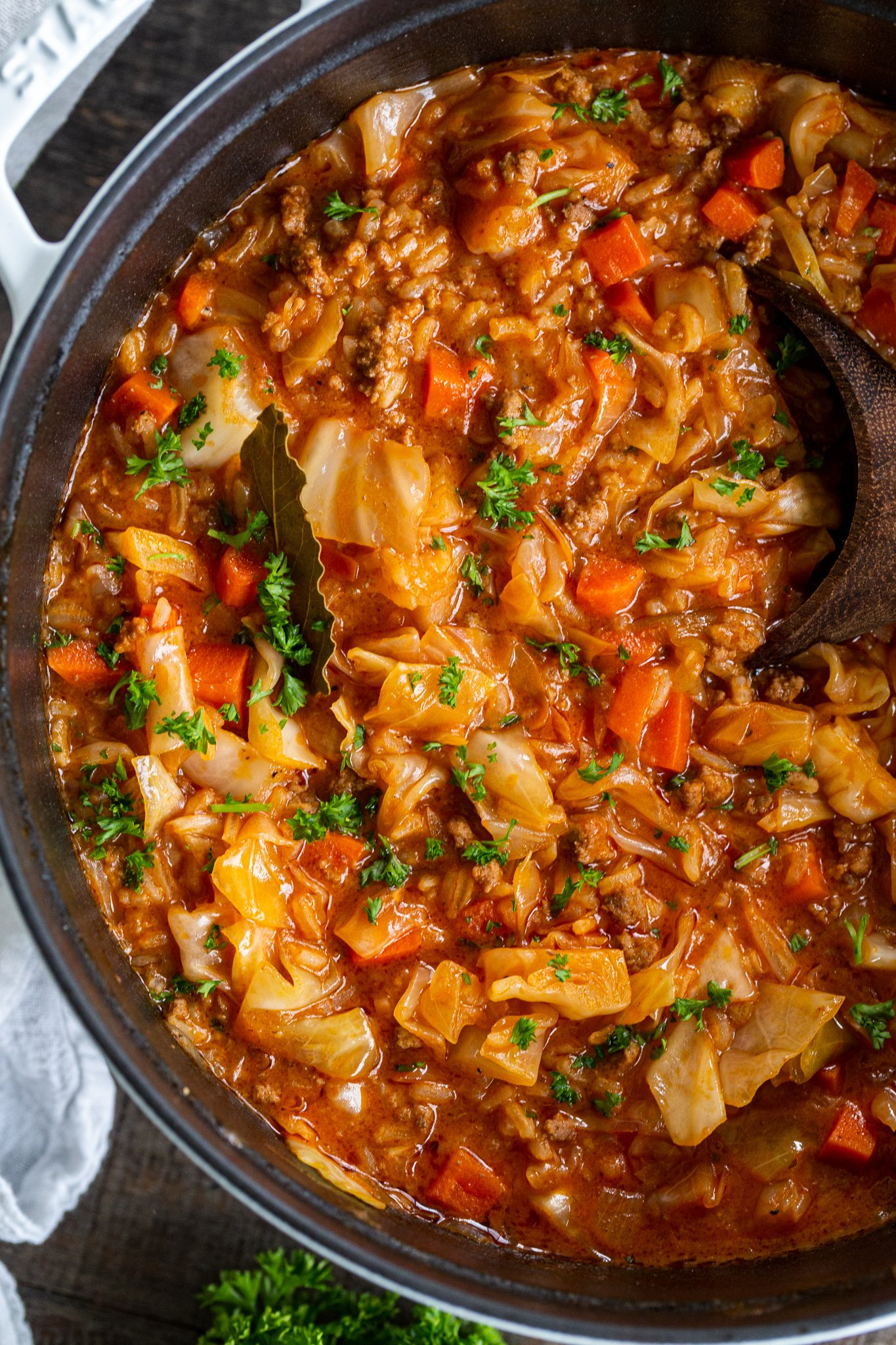 Cabbage Rolls soup in a pot