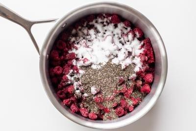 Raspberries sugar and chia in a pot
