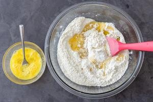 flour with egg and butter