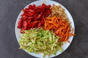 browned vegetables on the plate