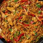 Yakisoba noodles in a pan