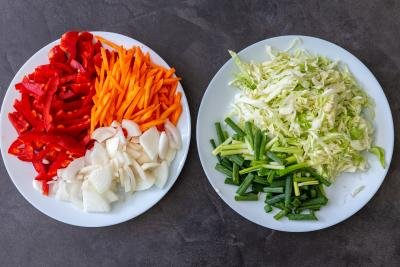 cut up vegetables for Yakisoba noodles