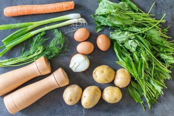 Ingredients for sorrel soup