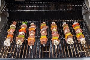 Shish Kabob with beef and veggies on a grill