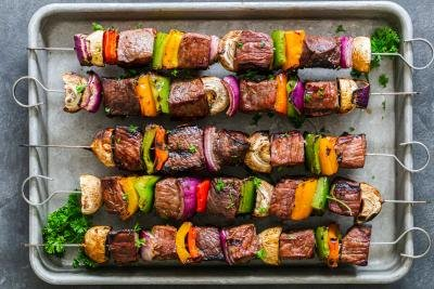 Shish Kabob with beef and veggies
