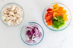 Cut veggies for the shish kabobs